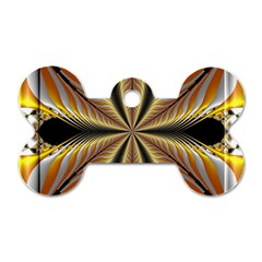 Fractal Yellow Butterfly In 3d Glass Frame Dog Tag Bone (two Sides) by Simbadda