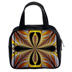Fractal Yellow Butterfly In 3d Glass Frame Classic Handbags (2 Sides)