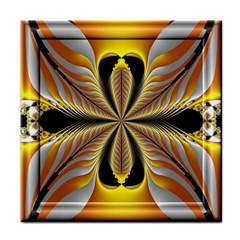 Fractal Yellow Butterfly In 3d Glass Frame Face Towel by Simbadda