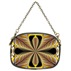 Fractal Yellow Butterfly In 3d Glass Frame Chain Purses (one Side)