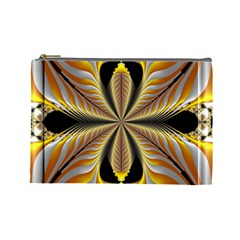 Fractal Yellow Butterfly In 3d Glass Frame Cosmetic Bag (large)