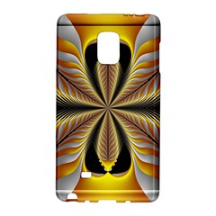 Fractal Yellow Butterfly In 3d Glass Frame Galaxy Note Edge by Simbadda