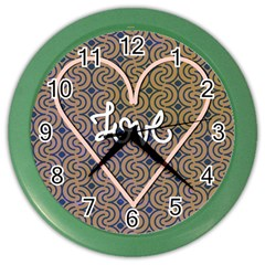 I Love You Love Background Color Wall Clocks by Simbadda