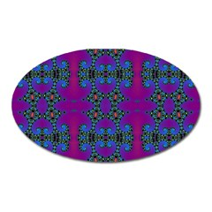 Purple Seamless Pattern Digital Computer Graphic Fractal Wallpaper Oval Magnet by Simbadda