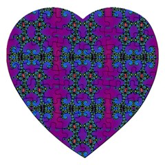 Purple Seamless Pattern Digital Computer Graphic Fractal Wallpaper Jigsaw Puzzle (heart) by Simbadda