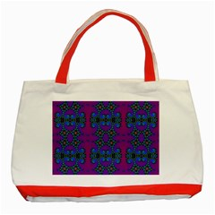 Purple Seamless Pattern Digital Computer Graphic Fractal Wallpaper Classic Tote Bag (red)