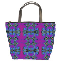 Purple Seamless Pattern Digital Computer Graphic Fractal Wallpaper Bucket Bags by Simbadda