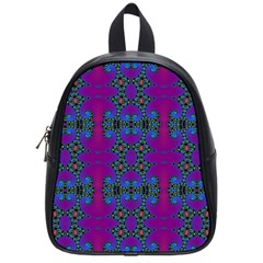 Purple Seamless Pattern Digital Computer Graphic Fractal Wallpaper School Bags (small)  by Simbadda