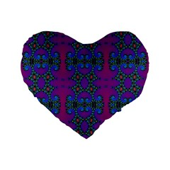 Purple Seamless Pattern Digital Computer Graphic Fractal Wallpaper Standard 16  Premium Flano Heart Shape Cushions by Simbadda