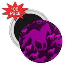 Pink Horses Horse Animals Pattern Colorful Colors 2 25  Magnets (100 Pack)