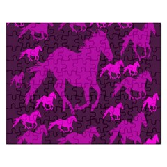 Pink Horses Horse Animals Pattern Colorful Colors Rectangular Jigsaw Puzzl by Simbadda