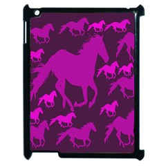 Pink Horses Horse Animals Pattern Colorful Colors Apple Ipad 2 Case (black) by Simbadda