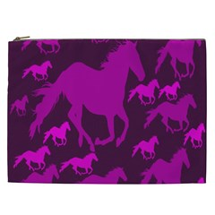 Pink Horses Horse Animals Pattern Colorful Colors Cosmetic Bag (xxl)