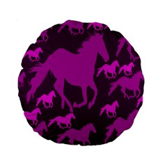 Pink Horses Horse Animals Pattern Colorful Colors Standard 15  Premium Round Cushions by Simbadda