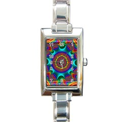 3d Glass Frame With Kaleidoscopic Color Fractal Imag Rectangle Italian Charm Watch by Simbadda