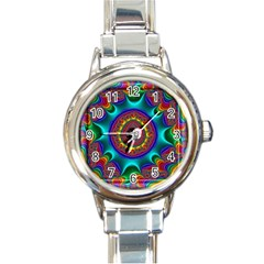 3d Glass Frame With Kaleidoscopic Color Fractal Imag Round Italian Charm Watch by Simbadda
