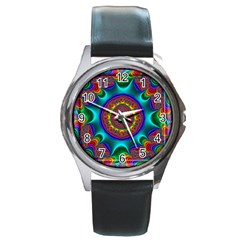 3d Glass Frame With Kaleidoscopic Color Fractal Imag Round Metal Watch by Simbadda