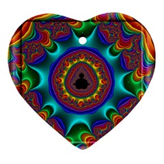 3d Glass Frame With Kaleidoscopic Color Fractal Imag Ornament (heart) by Simbadda