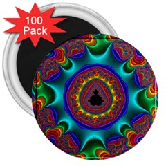 3d Glass Frame With Kaleidoscopic Color Fractal Imag 3  Magnets (100 Pack) by Simbadda