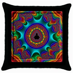 3d Glass Frame With Kaleidoscopic Color Fractal Imag Throw Pillow Case (black) by Simbadda