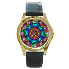 3d Glass Frame With Kaleidoscopic Color Fractal Imag Round Gold Metal Watch by Simbadda