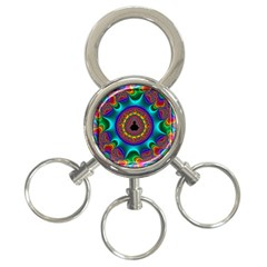 3d Glass Frame With Kaleidoscopic Color Fractal Imag 3 Ring Key Chains by Simbadda
