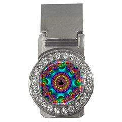 3d Glass Frame With Kaleidoscopic Color Fractal Imag Money Clips (cz)  by Simbadda