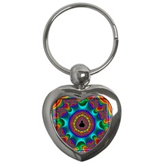 3d Glass Frame With Kaleidoscopic Color Fractal Imag Key Chains (heart)