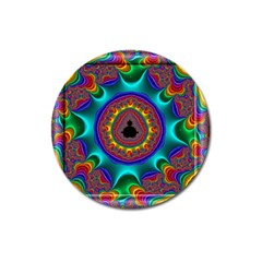 3d Glass Frame With Kaleidoscopic Color Fractal Imag Magnet 3  (round) by Simbadda