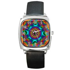 3d Glass Frame With Kaleidoscopic Color Fractal Imag Square Metal Watch by Simbadda