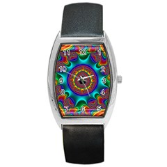 3d Glass Frame With Kaleidoscopic Color Fractal Imag Barrel Style Metal Watch by Simbadda