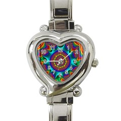 3d Glass Frame With Kaleidoscopic Color Fractal Imag Heart Italian Charm Watch by Simbadda