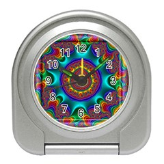 3d Glass Frame With Kaleidoscopic Color Fractal Imag Travel Alarm Clocks by Simbadda