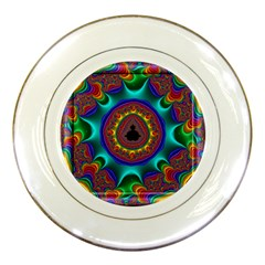 3d Glass Frame With Kaleidoscopic Color Fractal Imag Porcelain Plates by Simbadda