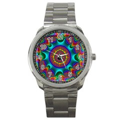 3d Glass Frame With Kaleidoscopic Color Fractal Imag Sport Metal Watch by Simbadda