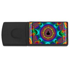 3d Glass Frame With Kaleidoscopic Color Fractal Imag Usb Flash Drive Rectangular (4 Gb) by Simbadda
