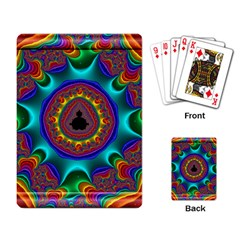 3d Glass Frame With Kaleidoscopic Color Fractal Imag Playing Card by Simbadda