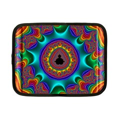 3d Glass Frame With Kaleidoscopic Color Fractal Imag Netbook Case (small)  by Simbadda