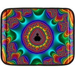 3d Glass Frame With Kaleidoscopic Color Fractal Imag Fleece Blanket (mini) by Simbadda
