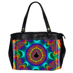 3d Glass Frame With Kaleidoscopic Color Fractal Imag Office Handbags (2 Sides)