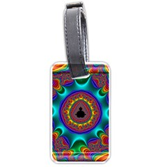3d Glass Frame With Kaleidoscopic Color Fractal Imag Luggage Tags (two Sides) by Simbadda