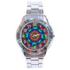 3d Glass Frame With Kaleidoscopic Color Fractal Imag Stainless Steel Analogue Watch by Simbadda