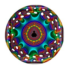 3d Glass Frame With Kaleidoscopic Color Fractal Imag Round Filigree Ornament (two Sides) by Simbadda