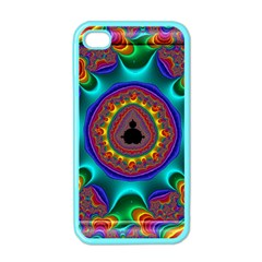 3d Glass Frame With Kaleidoscopic Color Fractal Imag Apple Iphone 4 Case (color) by Simbadda