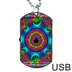 3d Glass Frame With Kaleidoscopic Color Fractal Imag Dog Tag Usb Flash (two Sides) by Simbadda
