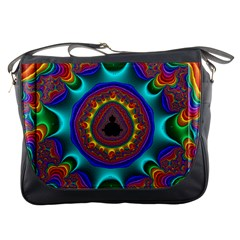 3d Glass Frame With Kaleidoscopic Color Fractal Imag Messenger Bags by Simbadda