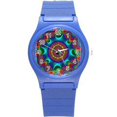 3d Glass Frame With Kaleidoscopic Color Fractal Imag Round Plastic Sport Watch (s) by Simbadda