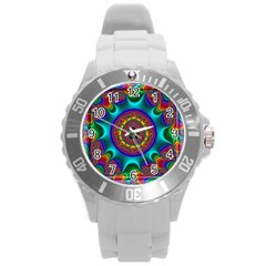 3d Glass Frame With Kaleidoscopic Color Fractal Imag Round Plastic Sport Watch (l) by Simbadda