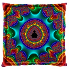 3d Glass Frame With Kaleidoscopic Color Fractal Imag Large Cushion Case (one Side) by Simbadda