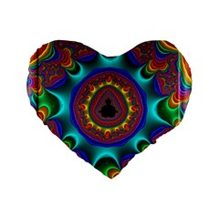 3d Glass Frame With Kaleidoscopic Color Fractal Imag Standard 16  Premium Heart Shape Cushions by Simbadda